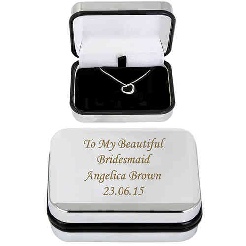 Engraved Box with Silver Heart Necklace