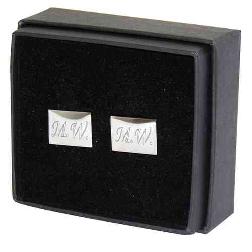 Engraved Silver Plated Cufflinks