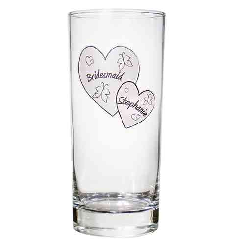 Personalised Butterfly and Hearts Hi Ball Glass