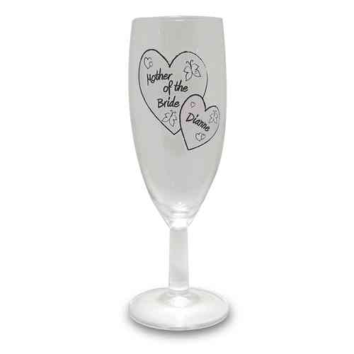 Personalised Butterfly and Hearts Wedding Flute