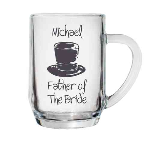 Personalised Top Hat Glass Tankard