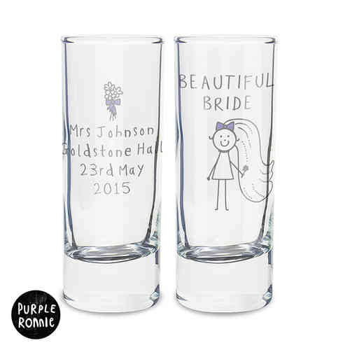 Purple Ronnie Personalised Shot Glass - Bride