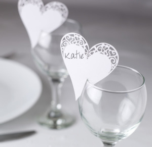 Heart Place Cards - White