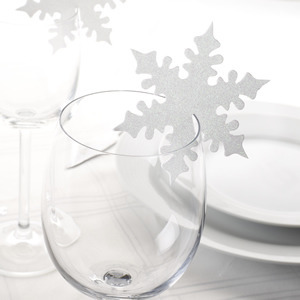 Shimmering Snowflake Place Cards - White