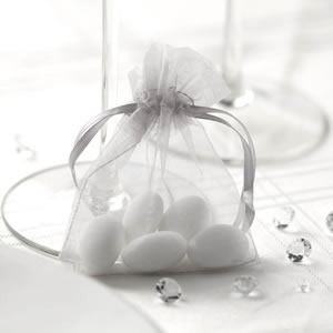 Silver Organza Favour Bags