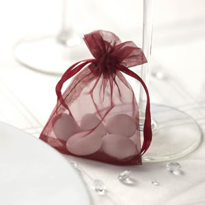Burgundy Organza Favour Bags