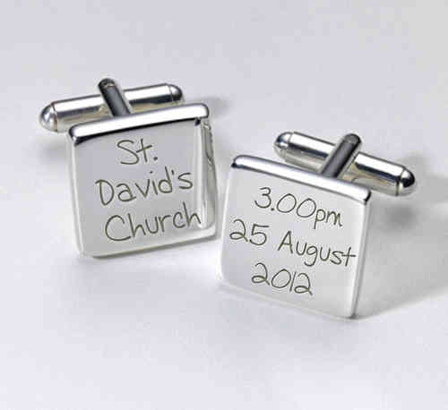 Personalised Wedding Cufflinks - Venue and Time