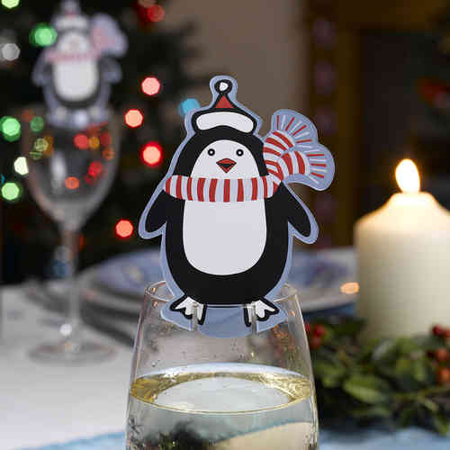 Party Penguin Glass Decorations