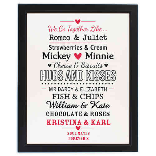 Couples Personalised Print in Black Frame
