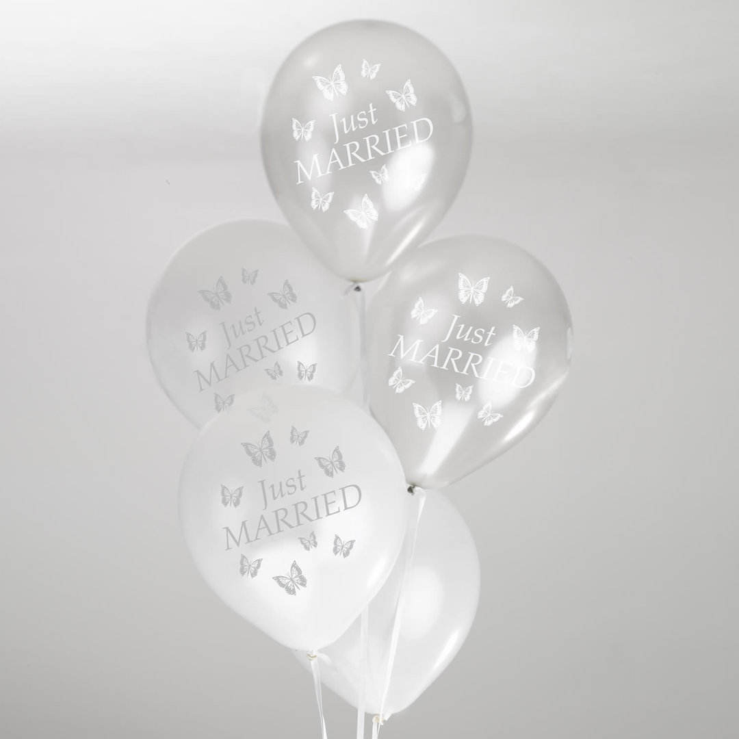 Wedding balloons white silver butterfly wedding balloons white silver junglespirit Gallery