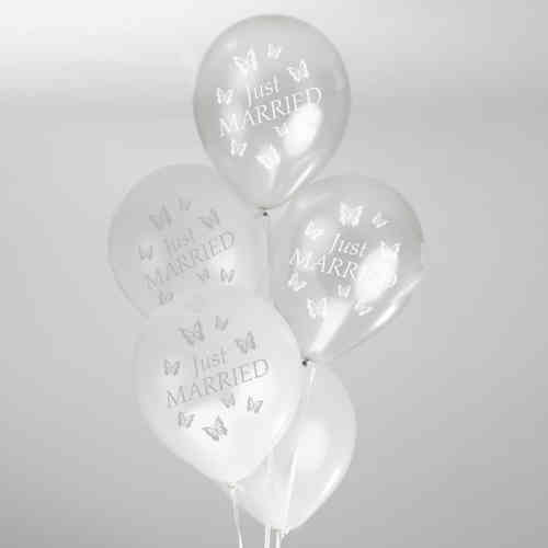 Butterfly Wedding Balloons - White & Silver