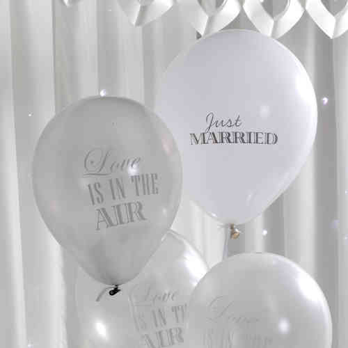 Chic Boutique Wedding Balloons - White & Silver
