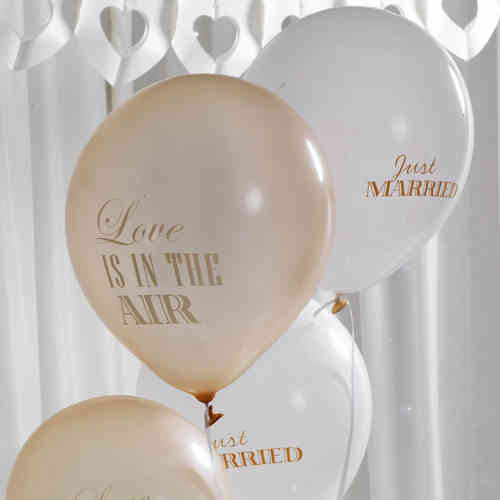 Chic Boutique Wedding Balloons - Ivory & Gold