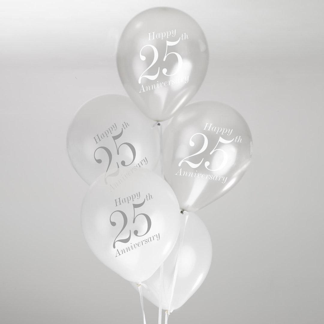 25th Wedding Anniversary Balloons White Amp Silver
