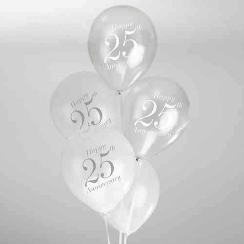 25th Wedding Anniversary Balloons - White & Silver