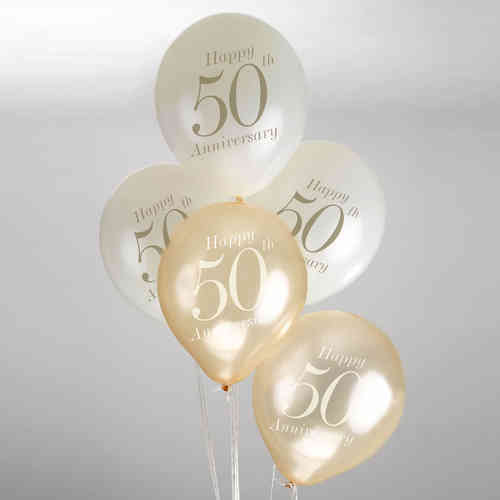 50th Wedding Anniversary Balloons - Ivory & Gold