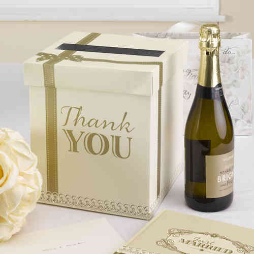 'Thank You' Post Box - Gold & Ivory