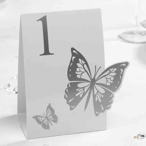 Elegant Butterfly Table Numbers - Silver & White