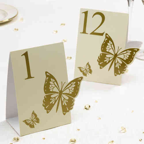 Elegant Butterfly Table Numbers - Gold & Ivory