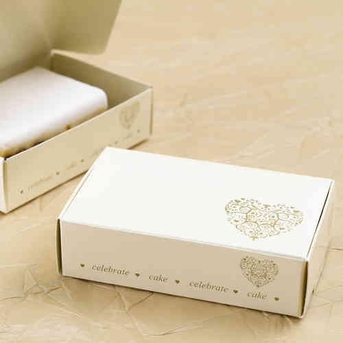 Vintage Heart Cake Boxes - Ivory & Gold