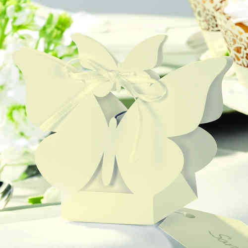 Butterfly Favour Boxes - Ivory