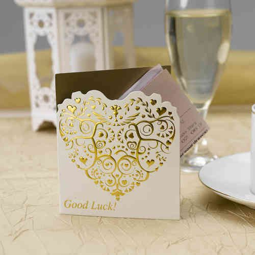 Vintage Heart Lottery Ticket Holders - Ivory & Gold