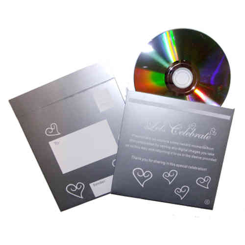 Photo CD & Sleeve - Silver & White Hearts