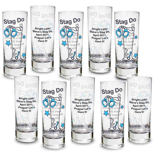 Personalised Stag Night Shot Glasses (Pack of 10)
