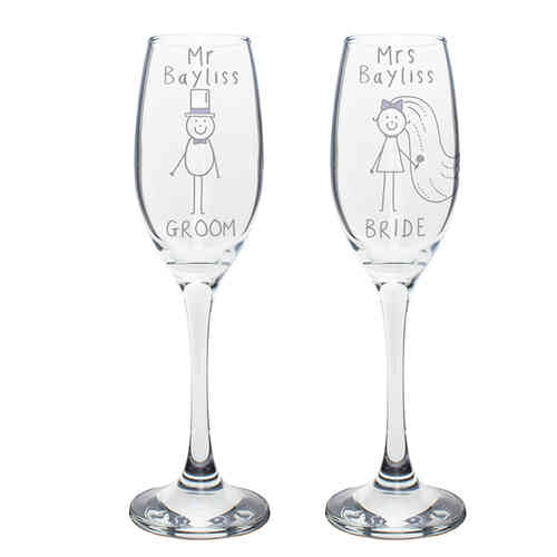 Purple Ronnie Personalised 'Mr & Mrs' Flutes