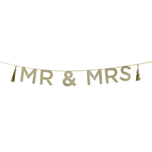 'MR & MRS' Gold Glitter Banner