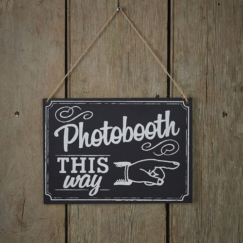 'Photobooth This Way' Chalkboard Sign