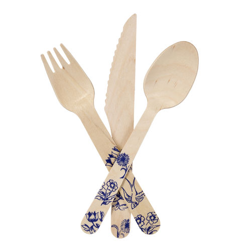 Wooden Cutlery Set - Blue Porcelain Design