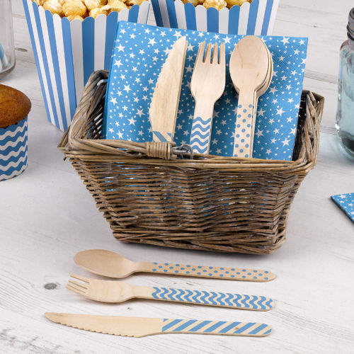 Wooden Cutlery Set - Blue Carnival Design
