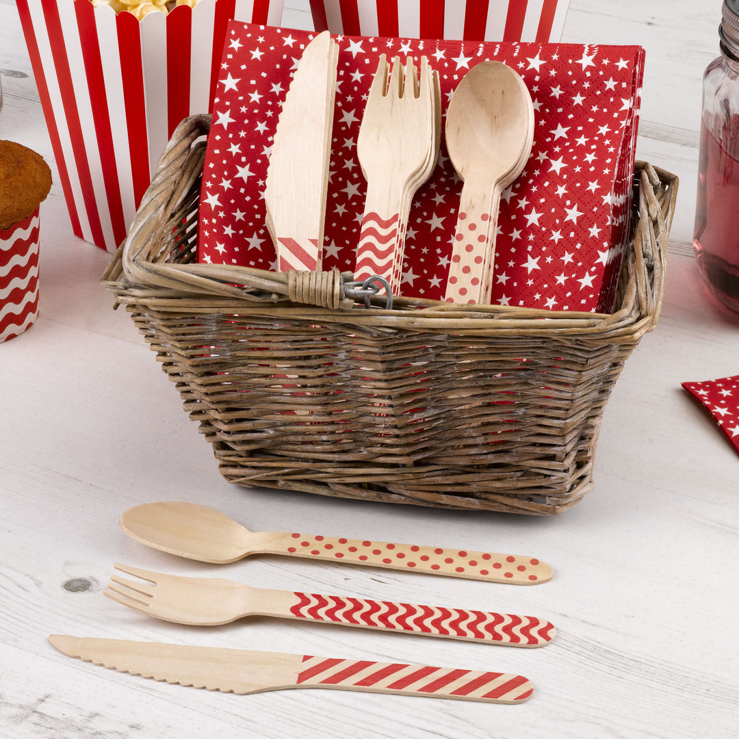 Wooden Cutlery Set - Red Carnival Design