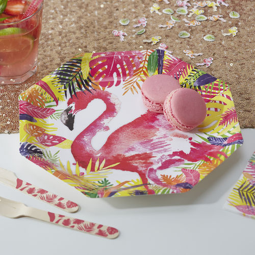 Tropical Flamingo Paper Plates