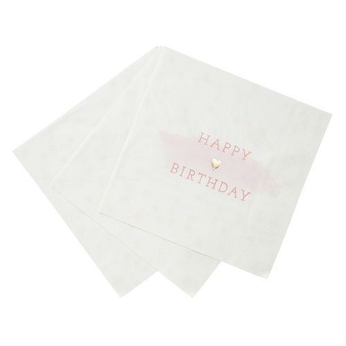 Happy Birthday Napkins - Pink