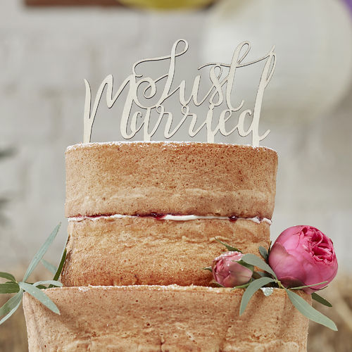 Wooden 'Just Married' Cake Topper