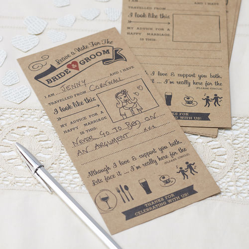 Vintage Wedding Advice Cards x10