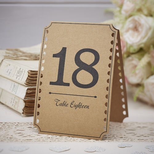 Vintage Style Table Number Cards -13 to 24
