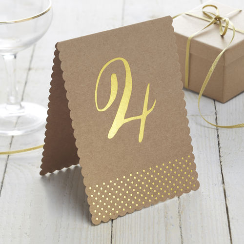 Kraft Table Number Cards - 1 to 12