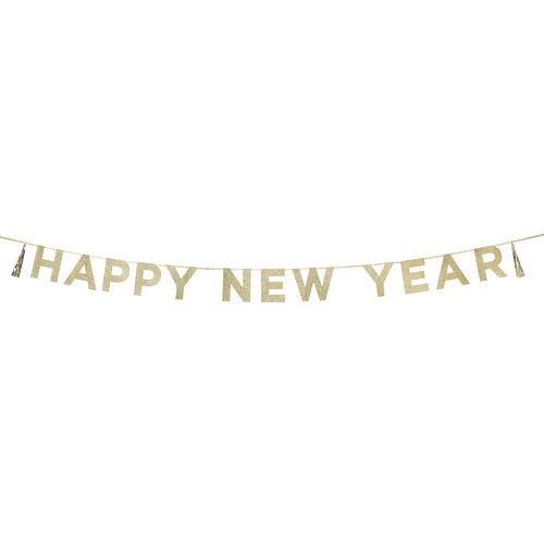 'HAPPY NEW YEAR' Gold Glitter Banner