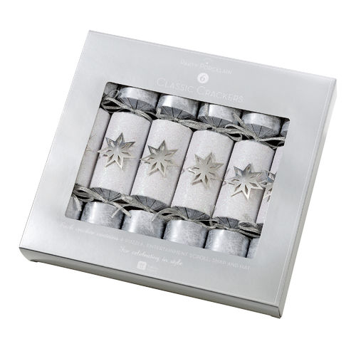 Silver Star Christmas Crackers x 6