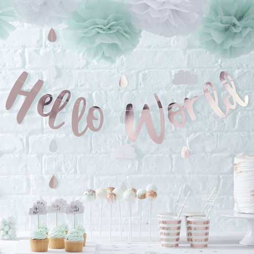 Hello World - Baby Shower Garland