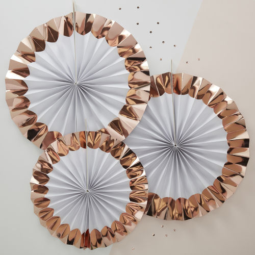 Metallic Rose Gold & White Fan Decorations