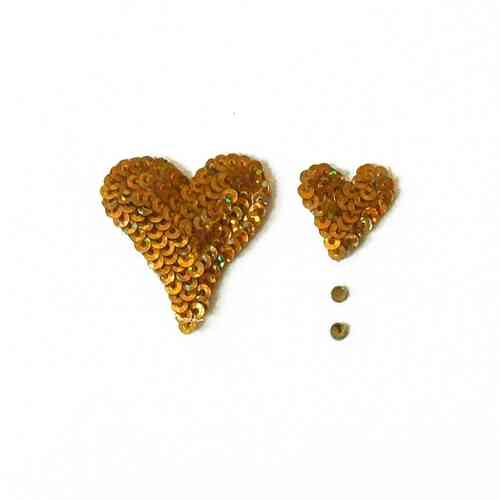 Wedding / Engagement Card - Gold Sequin Hearts