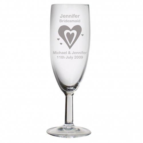 Personalised Champagne Flute - Hearts