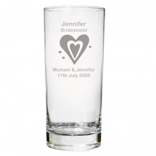 Personalised Hi Ball Glass - Hearts