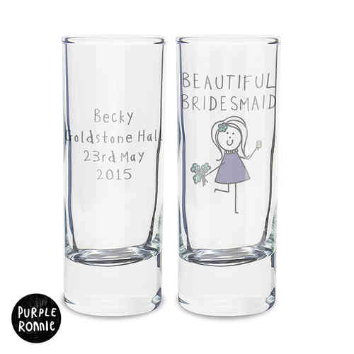 Purple Ronnie Personalised Wedding Shot Glass - Female