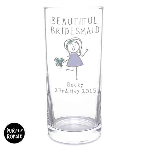 Purple Ronnie Personalised Wedding Hi Ball Glass - Female