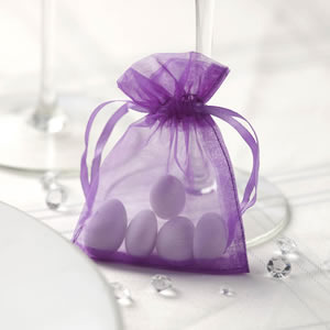Purple Organza Favour Bags
